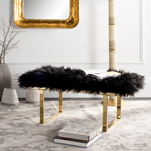 black faux sheepskin bench with metal base