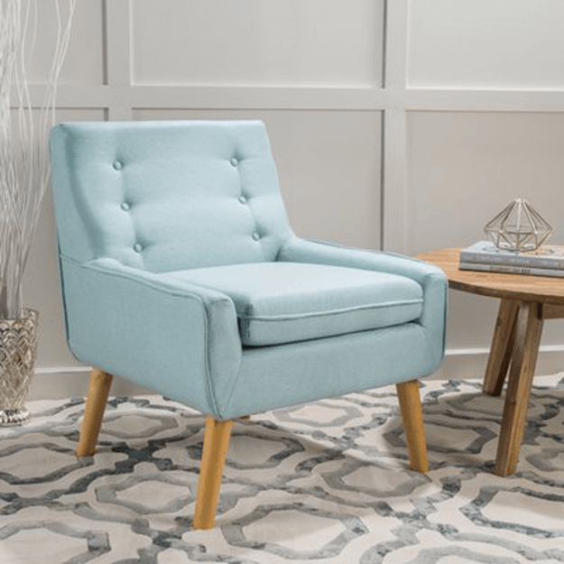 aqua blue mid-century modern chair