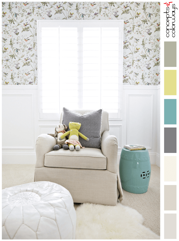 white vintage style nursery with teal accent