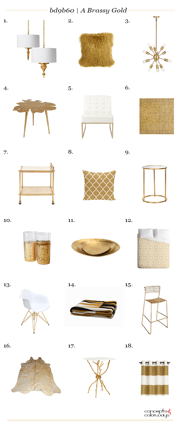 a brassy gold interior design product roundup