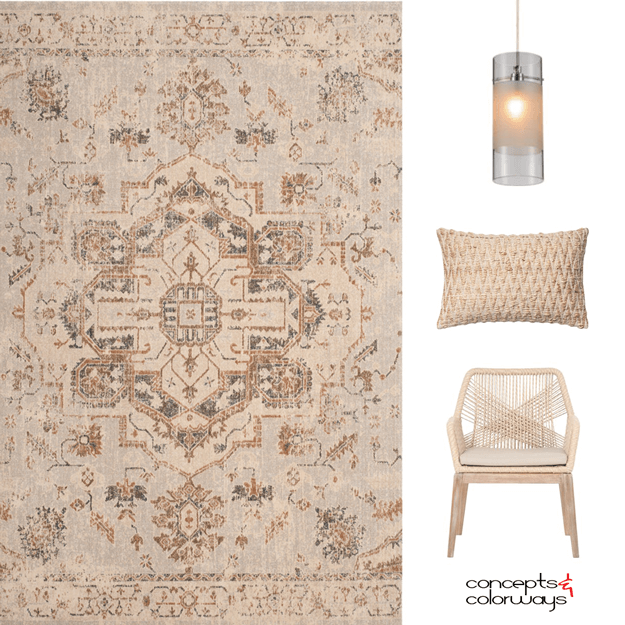 a spunky beige interior design color card