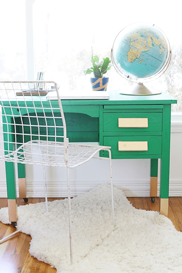 jade green desk with gold accents