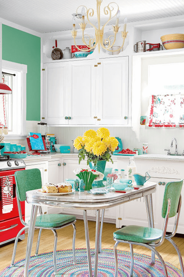 mint green retro style kitchen