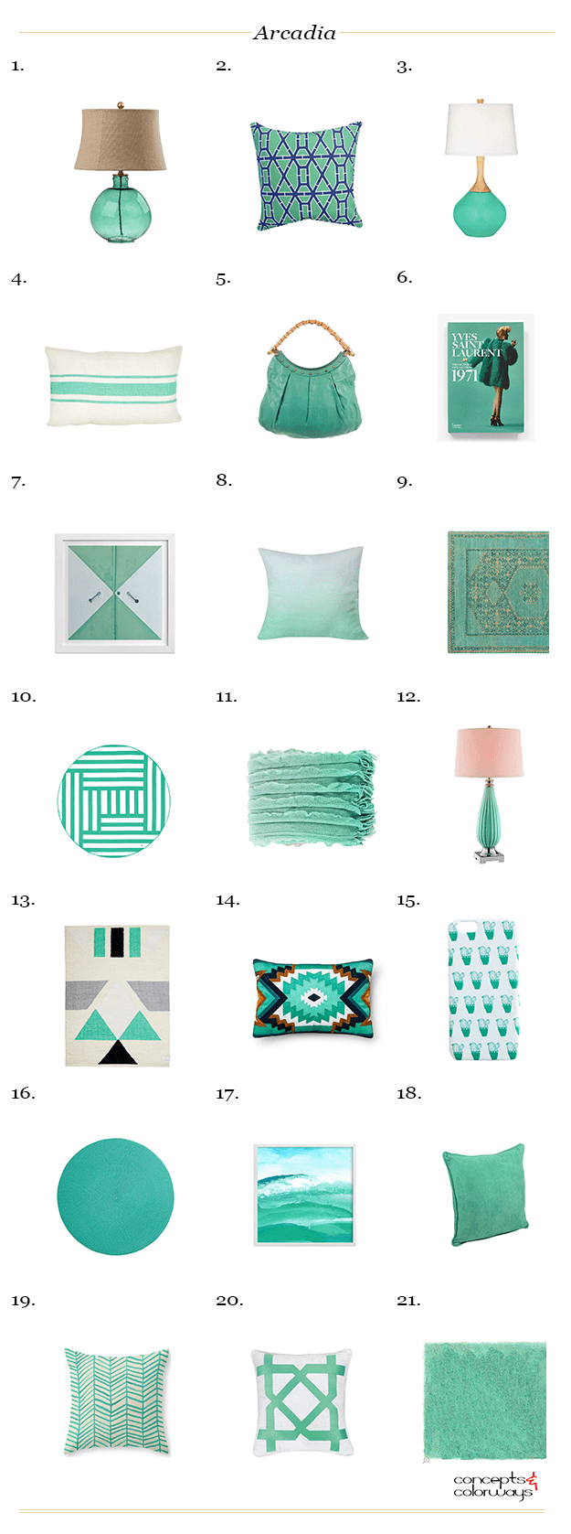 emerald green mint green interior design product roundup