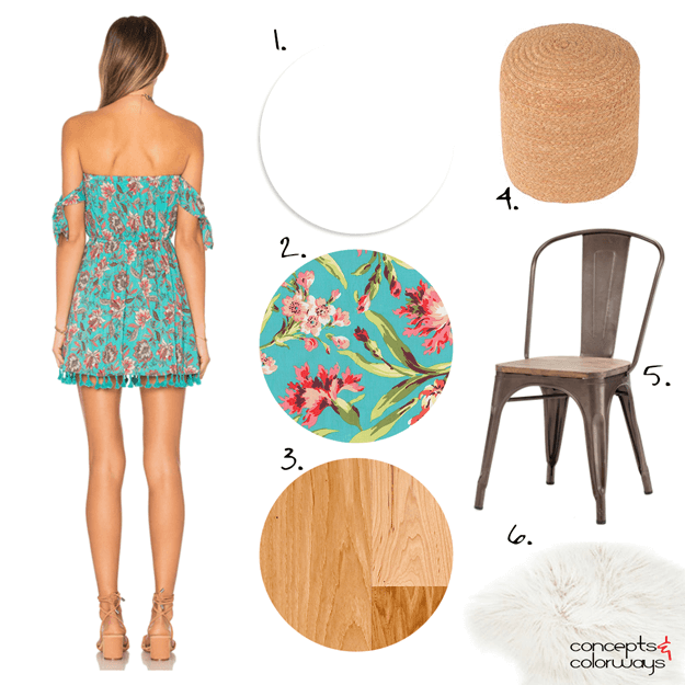 interior design mood board with turquoise floral print fabric