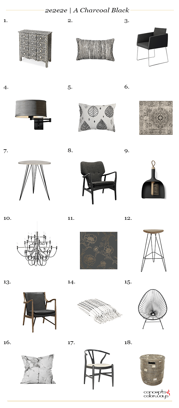 charcoal black interior design product roundup