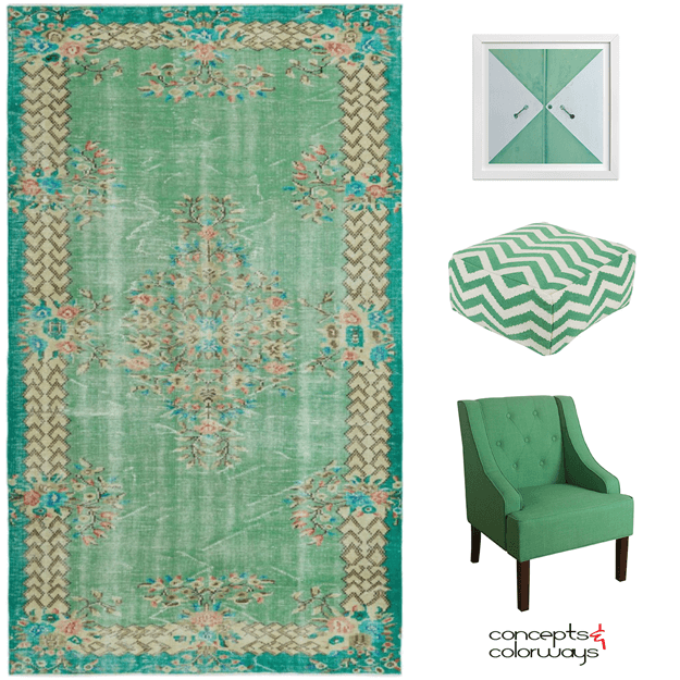 a lively green interior design mood board