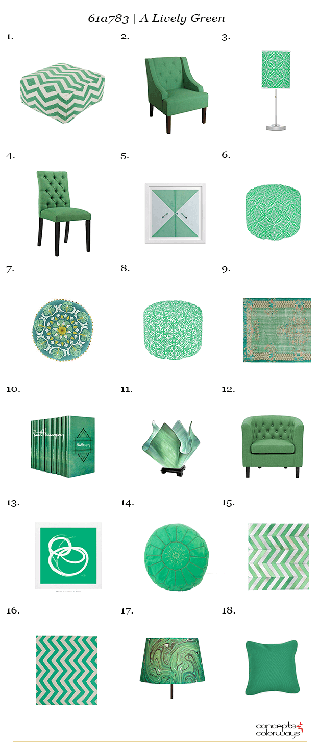 a lively green interior design product roundup