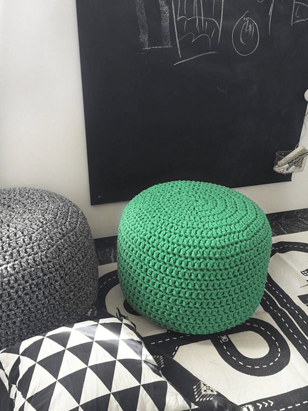 green knit footstool pouf