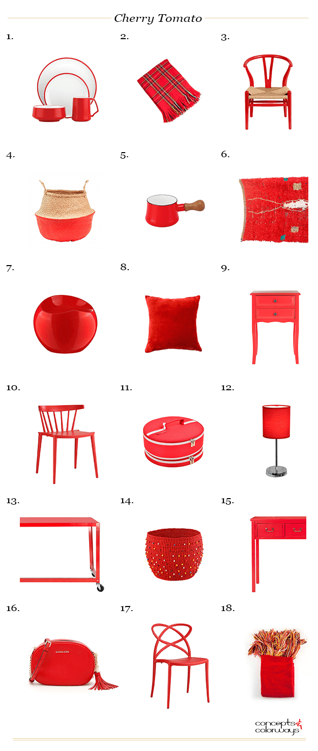 pantone cherry tomato interior design product roundup