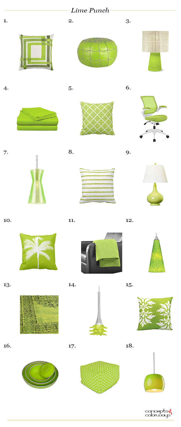 pantone lime punch interior design product roundup