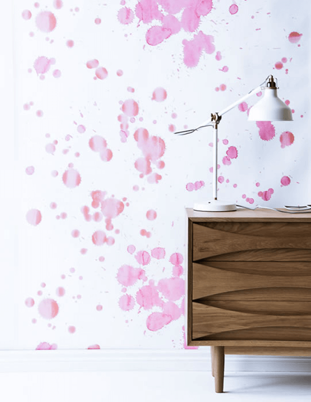 fuchsia splatter wallpaper on white background