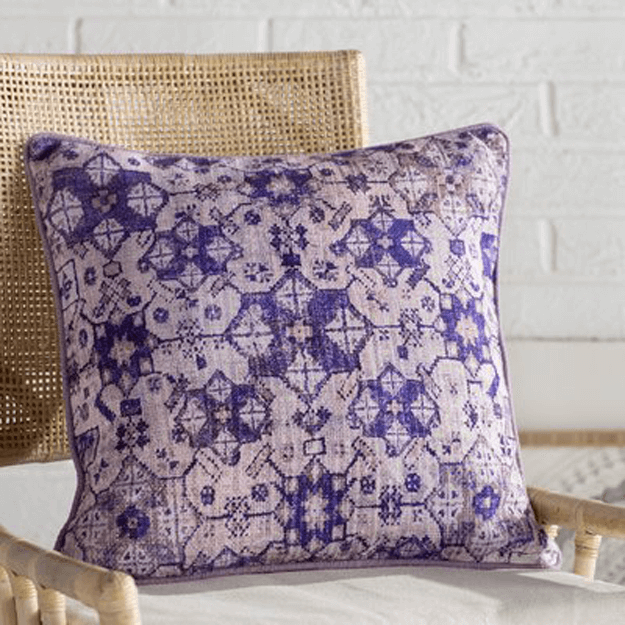 violet purple patterned throw pillow