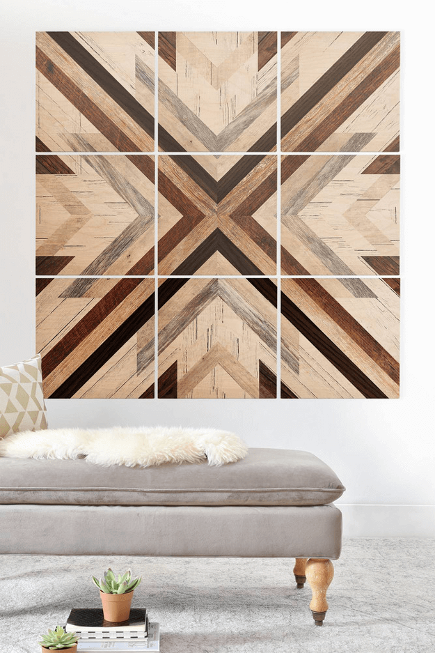 brown wood mosaic wall mural