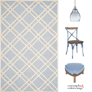 A periwinkle blue interior design product roundup card, sky blue, baby blue