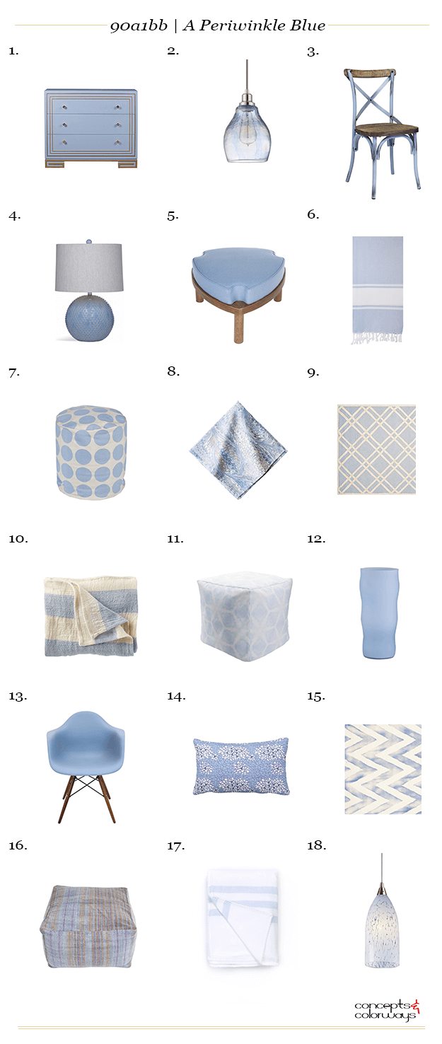 A periwinkle blue interior design product roundup, sky blue, baby blue