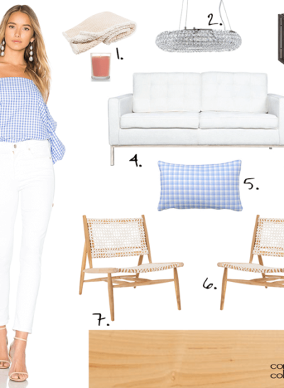 A MODERN LIVING ROOM WITH BLUE GINGHAM ACCENTS