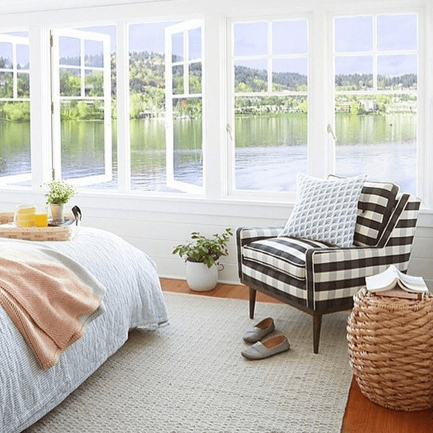 Black And White Buffalo Plaid Upholstered Chair In Coastal Style White  Bedroom