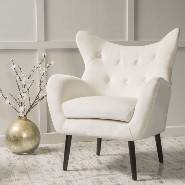ivory mid-century modern wingback chair
