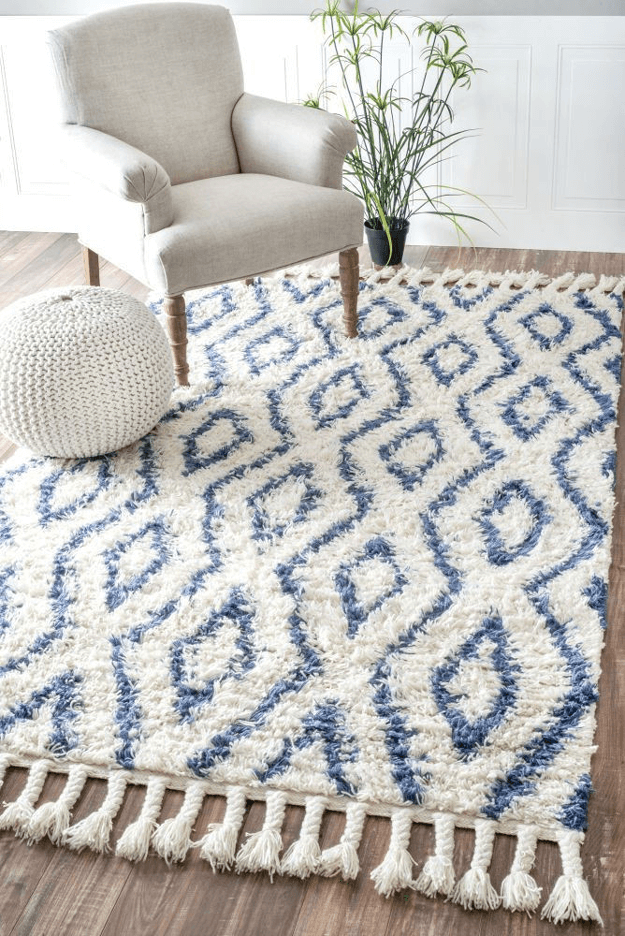 blue and white diamond pattern rug