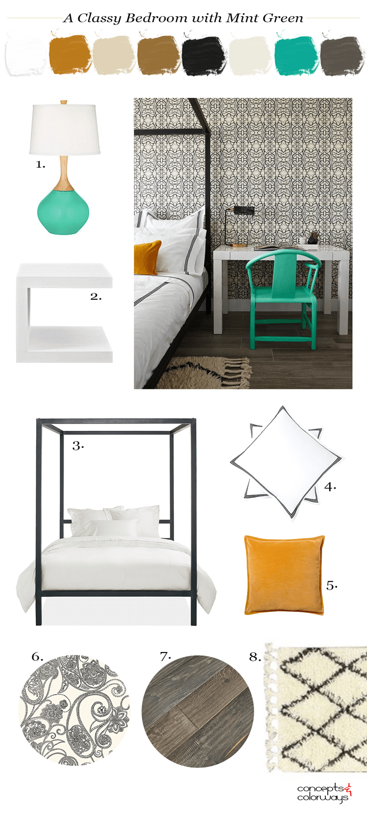 a classy bedroom with mint green accents, mint green, burnt orange, dark wood floors, black and cream wallpaper, black poster bed, mint green decor, ivory shag rug, white modern nightstand, black and white bedding