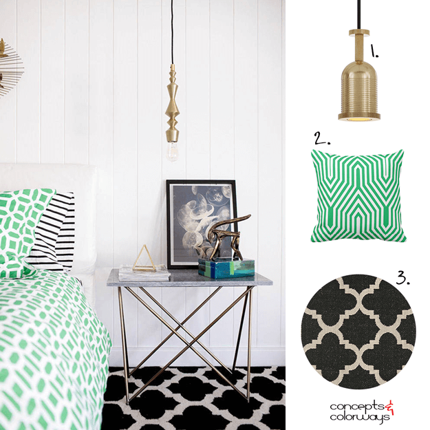 A JADE GREEN AND BLACK BEDROOM WITH BRASS PENDANT LIGHT