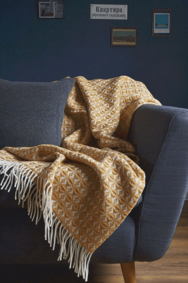 ochre herringbone throw blanket, ochre color, ochre, yellow ochre, mustard yellow