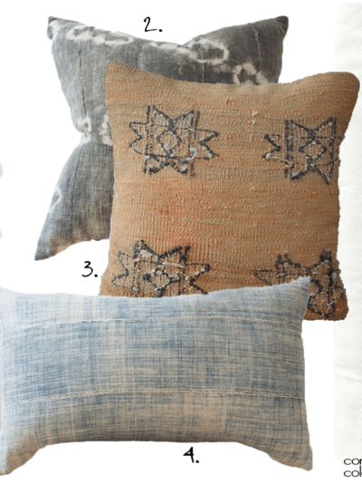 A PILLOW SET MADE FROM MUDCLOTH AND KILIM VINTAGE FABRIC