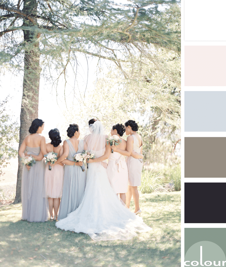pastel color palette, blush pink, pale pink, dove gray, grayish brown, sage green, wedding color palette, black, white, pantone harbor mist