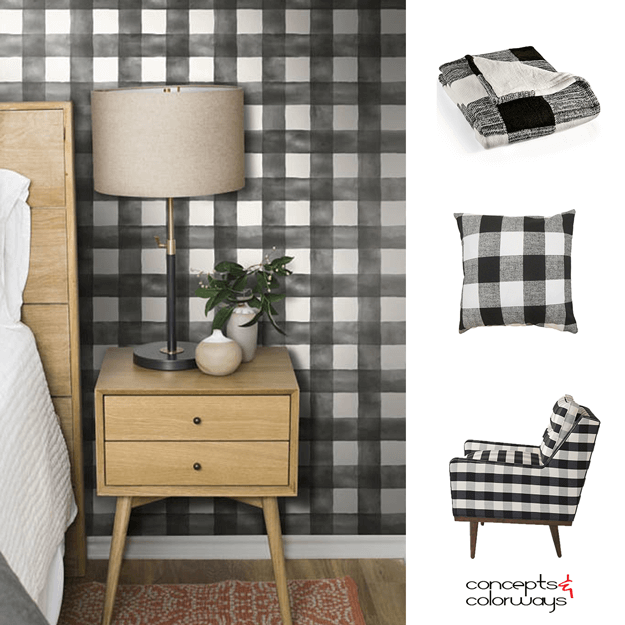 BLACK AND WHITE BUFFALO PLAID FABRIC AND WALLPAPER