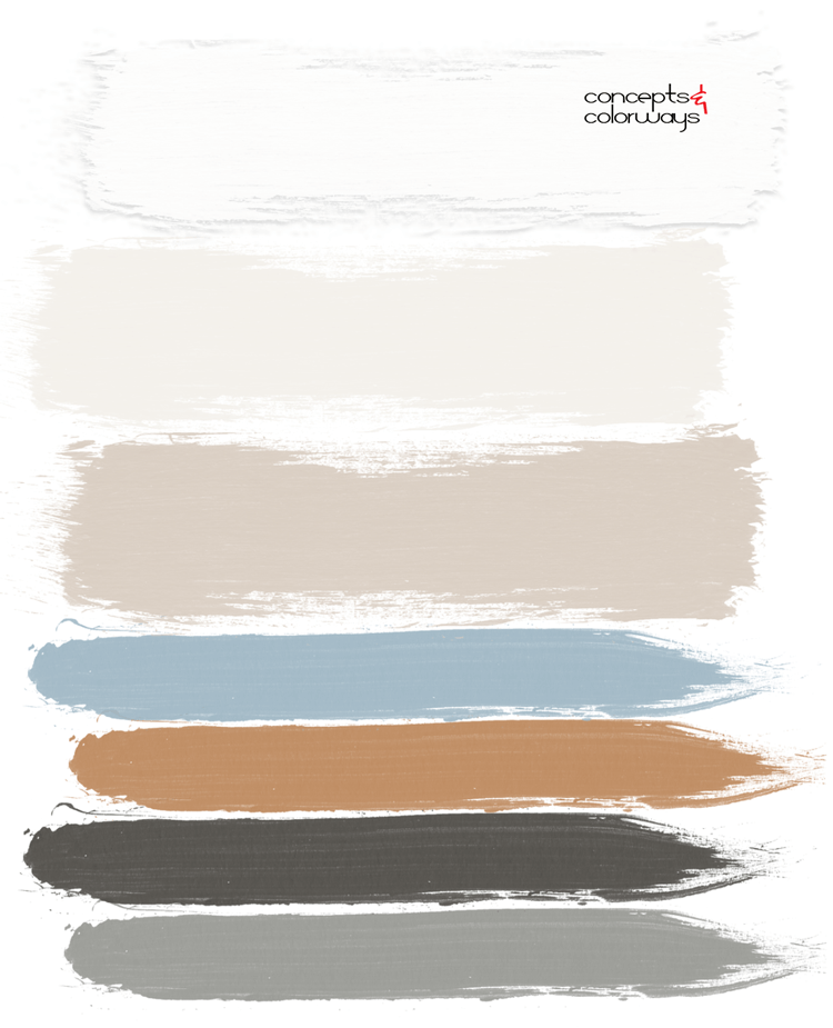 copper and blue paint palette, faded indigo, slate blue, copper brown, charcoal grey, ivory, light tan