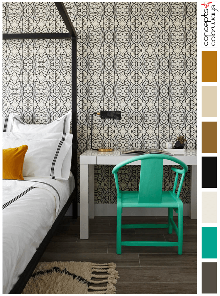 cultivated mint color palette, a classy bedroom with mint green accents, mint green, burnt orange, dark wood floors, black and cream wallpaper, black poster bed, mint green decor, ivory shag rug, white modern nightstand, black and white bedding, bronze, paint palette