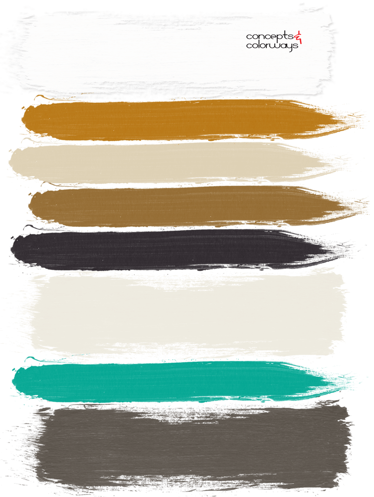 cultivated mint paint palette, mint green, burnt orange, ivory, black, bronze, cream, white