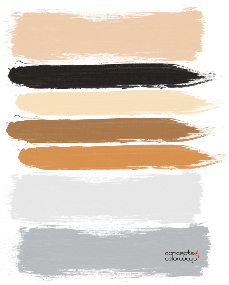 dove gray and golden orange paint palette, dove gray, stone gray, pantone harbor mist, light gray, warm gray, golden brown, golden orange, blonde, caramel brown, black, beige, gray and orange