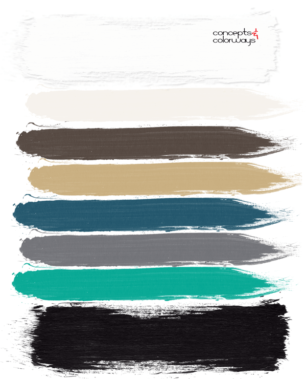 jade green, jade, teal, black, ivory, white, brass, gray, paint palette