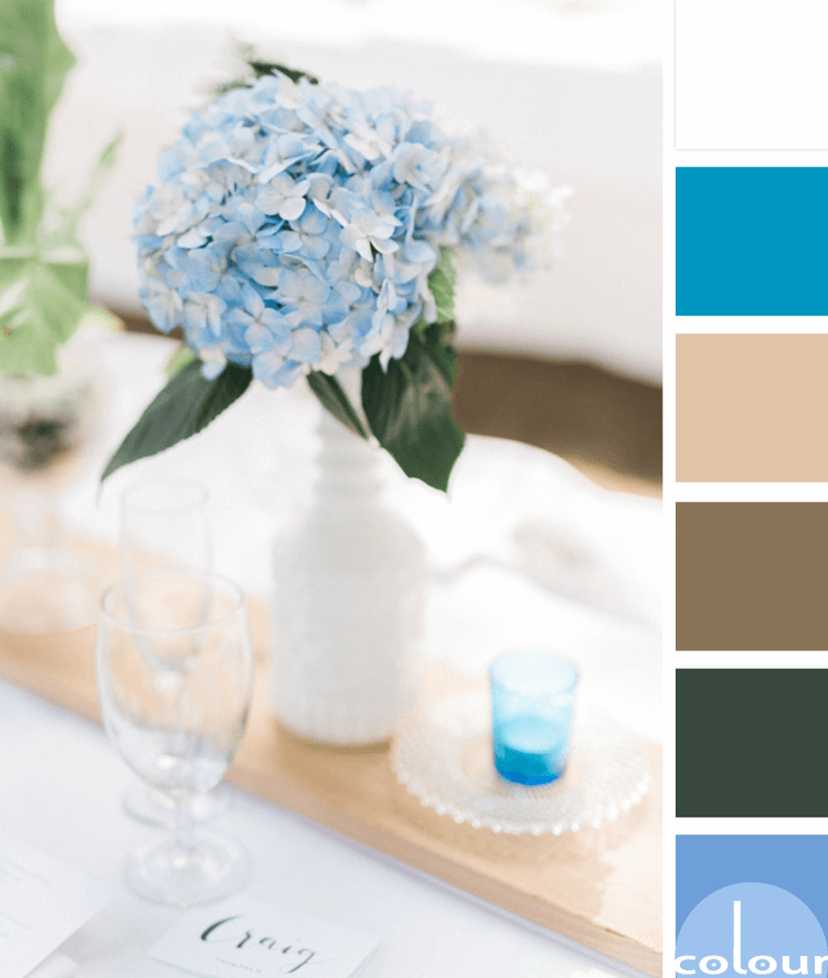 periwinkle centerpiece color palette, blue and white, periwinkle, dark green, blonde wood, bright blue, white table cloth