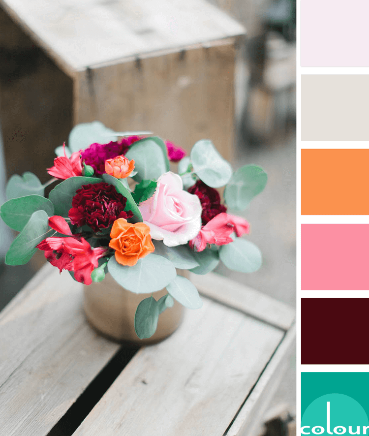 pink and green floral arrangement, blush pink, burgundy, hot pink, jade green, light pink, mint green, pale pink, rose, tangerine orange, warm grey, rustic wood crate, pink and green