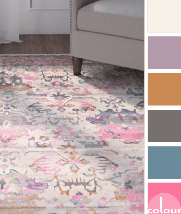 color palette, color combination, color scheme, color ideas, ivory, lavender, copper, charcoal gray, teal, hot pink, pink rug