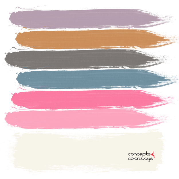 sweet and spicy, paint palette, ivory, lavender, copper, charcoal gray, teal, hot pink