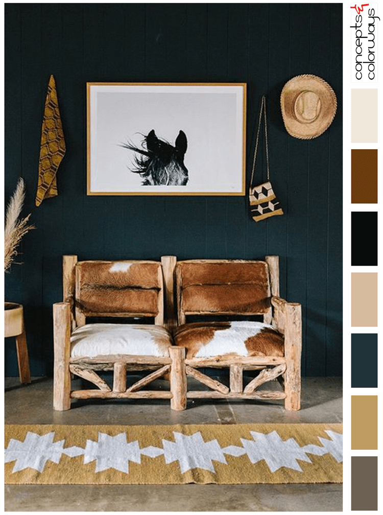 russet browm, black and white, blonde wood, olive greenmodern ranch, rustic interior design, rustic cottages, cowhide upholstery, log furniture, horse art, ochre, tribalcork flooring, dark teal, dark room rug,