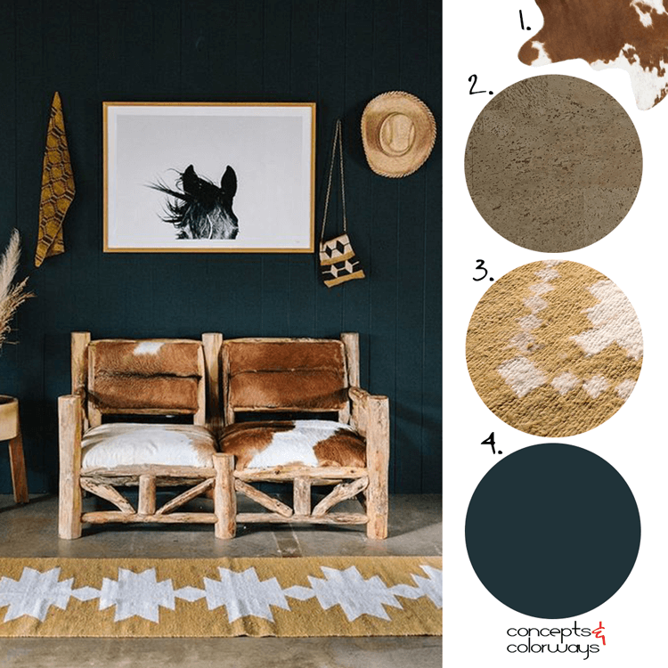 russet brown, black and white, blonde wood, olive green, modern ranch, rustic interior design, rustic cottages, cowhide upholstery, log furniture, horse art, ochre, tribal rug, cork flooring, dark teal, dark room