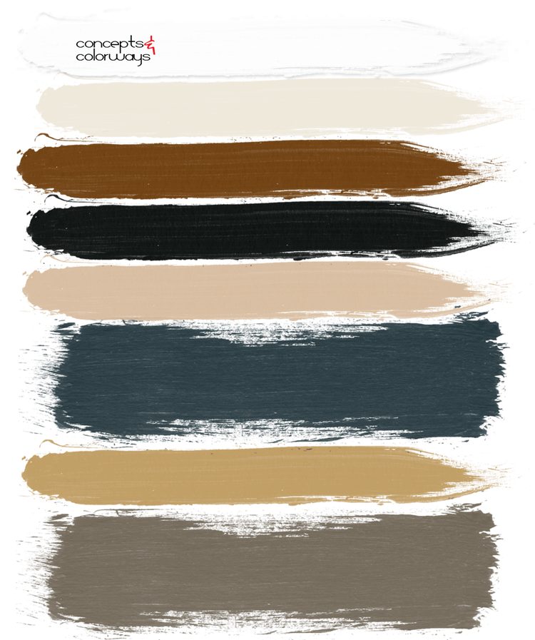 dark teal, ochre, olive green, blonde wood, russet brown, black and white, paint palette