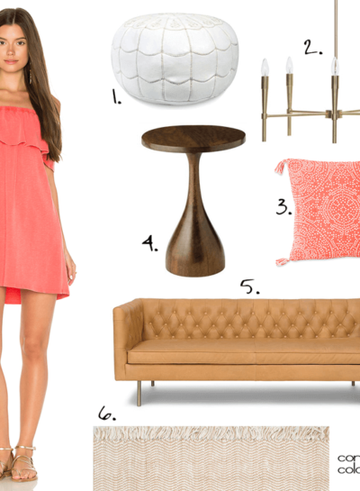 A PEACH AND TAN LIVING ROOM DESIGN INSPIRED BY A CORAL DRESS