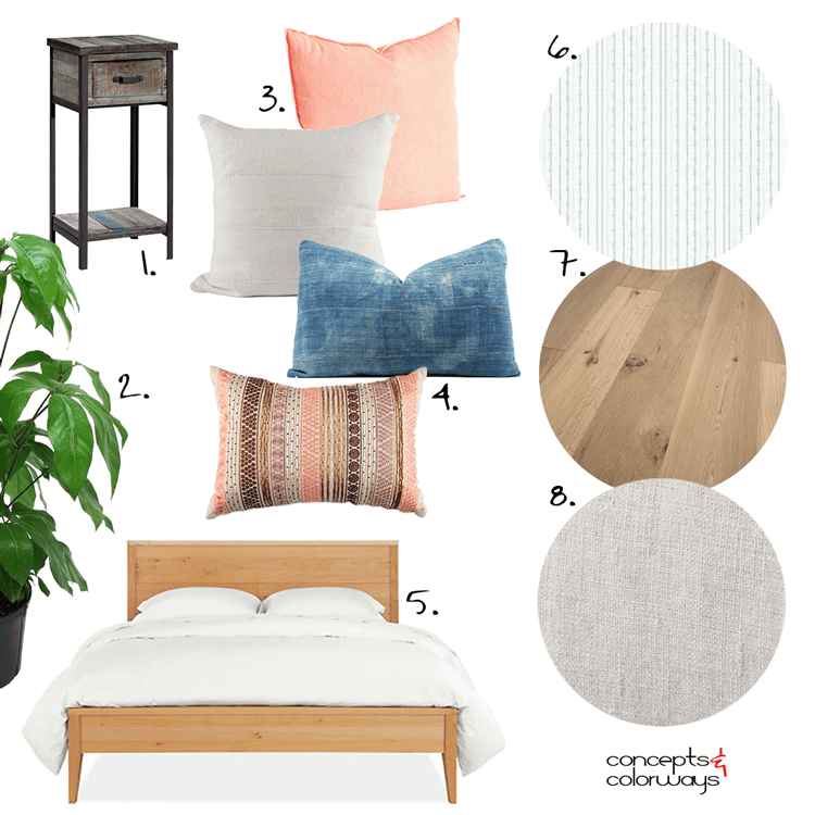 white bedroom, white bedroom ideas, rattan chairs, peach, indigo, peach pillow, indigo mudcloth, mudcloth pillow, white mudcloth, maple bed, indoor plants, french oak flooring, sheepskin throw, linen roman shades, white sheer curtains, bentwood chairs, pantone blooming dahlia