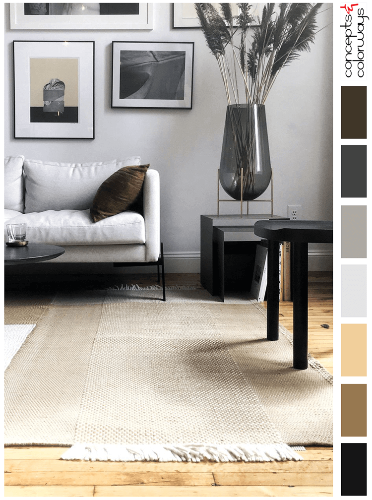 masculine style, masculine living room, light gray, black and white, ochre, honey oak, dark gray, bronze color, trnk furniture, gray walls, contemporary living room, modern white sofa, rustic oak flooring, dhurrie rugs