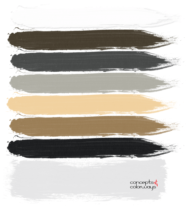 masculine living room, masculine style paint palette, light gray, black and white, ochre, honey oak, dark gray, bronze color