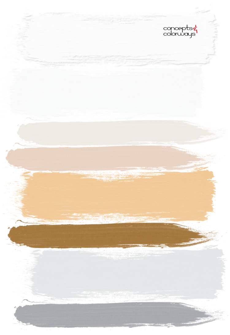 vintage sunshine paint palette, ochre, golden yellow, dove gray, light peach, chalky white, modern bathroom