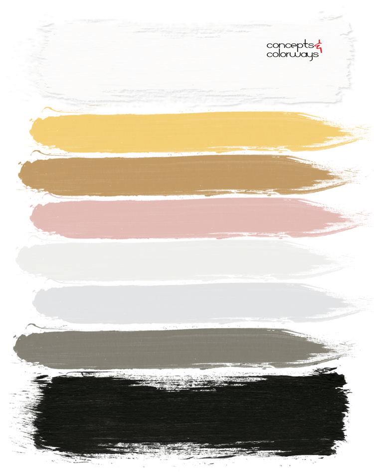 pink and yellow, bright yellow, black and white, ochre, blush pink, paint palette