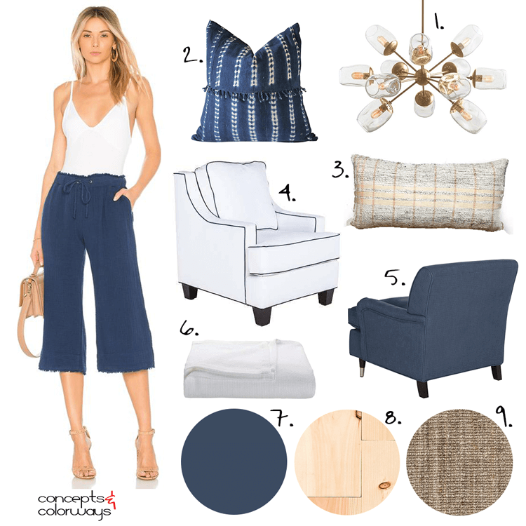 navy and white, coastal style, coastal bedroom, starburst chandelier, navy chair, white chair, indigo pillows, white blanket, maple flooring, navy and white outfits, kilim pillows, indigo batik, jute rug, pantone sailor blue