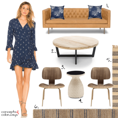 A NAUTICAL LIVING ROOM INSPIRED BY A NAVY FLORAL DRESS